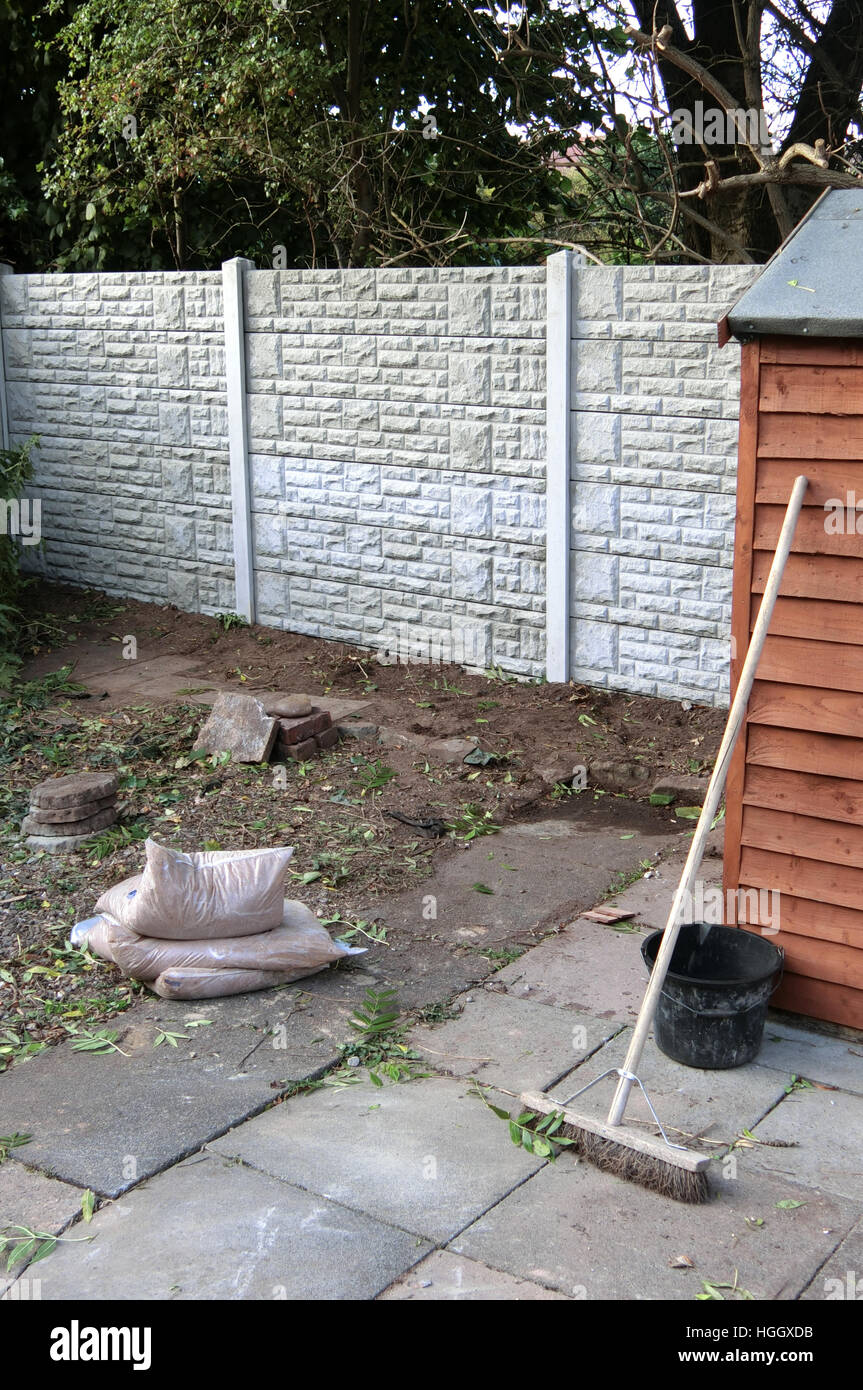 Newly Erected Gravel Faced Concrete Gravel Board Fencing, UK PROPERTY RELEASED - Stock Image