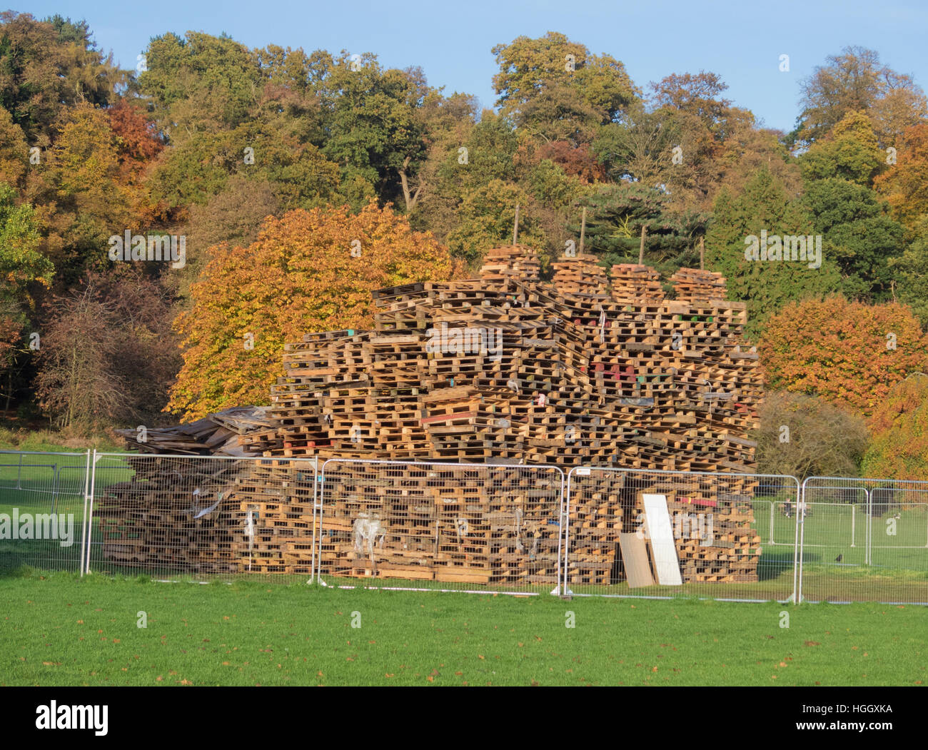 Pile of Wooden Pallets forming an Unlit Bonfire Pile, Himley Hall. Staffordshire, England, UK Stock Photo