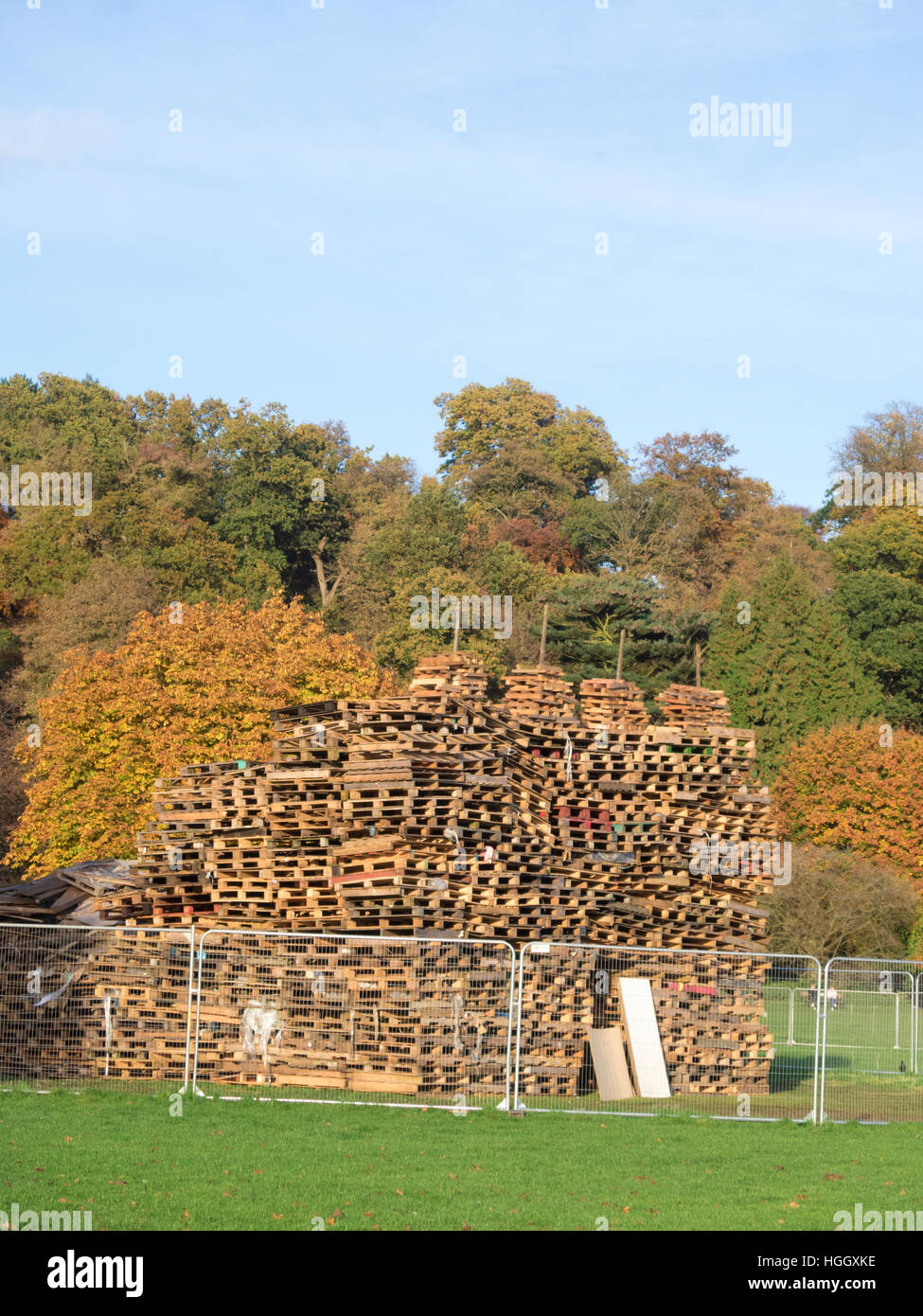 Pile of Wooden Pallets forming an Unlit Bonfire Pile, Himley Hall. Staffordshire, England, UK - Stock Image