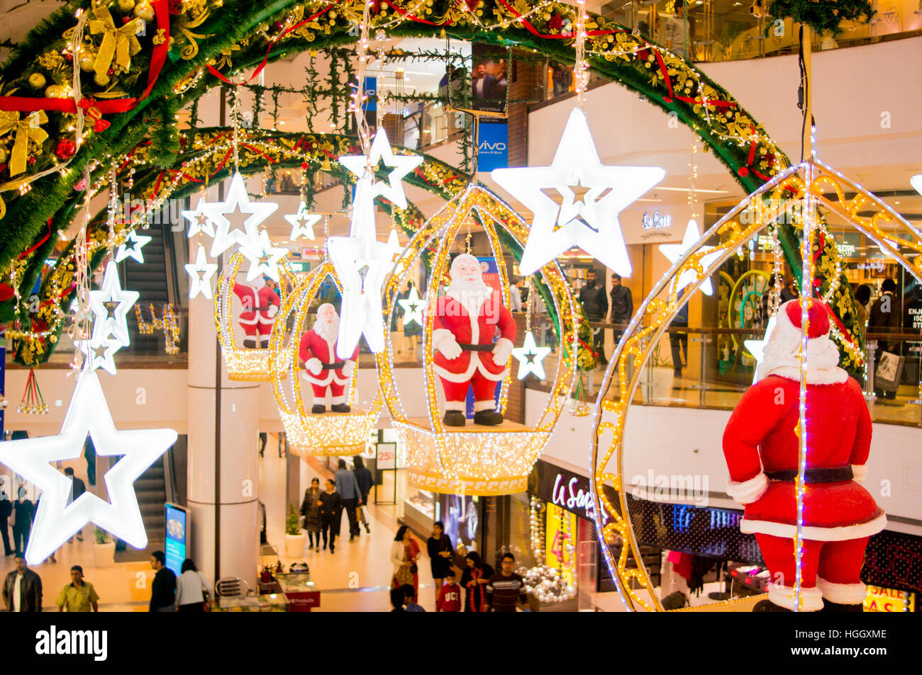 delhi india 18th dec 2016 christmas decorations in the select citywalk mall in