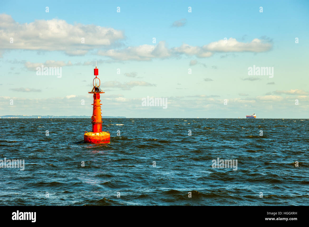 Navigation buoy at the edge of a fairway. Stock Photo