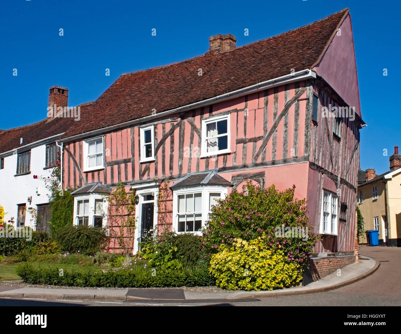 Medieval half-timbered house in the High Street, Lavenham,Suffolk,England - Stock Image