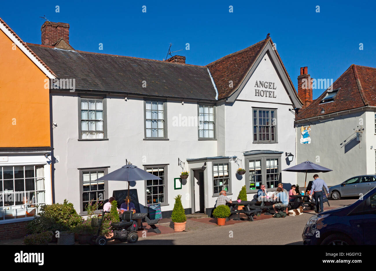 The Angel Hotel in the market square at Lavenham, Suffolk, England Stock Photo