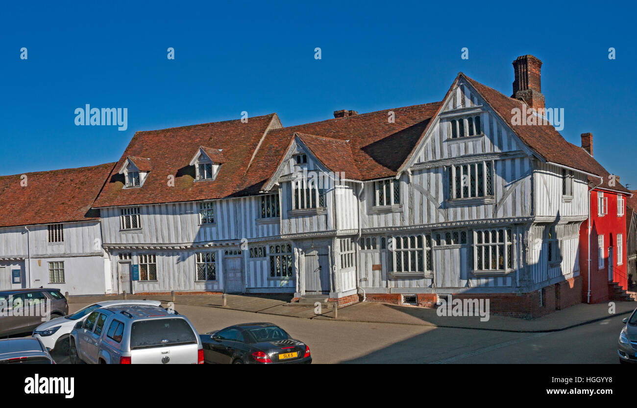 The Guildhall in Lavenham, Suffolk, England. One of the finest and best preserved medieval timber buildings in England. - Stock Image