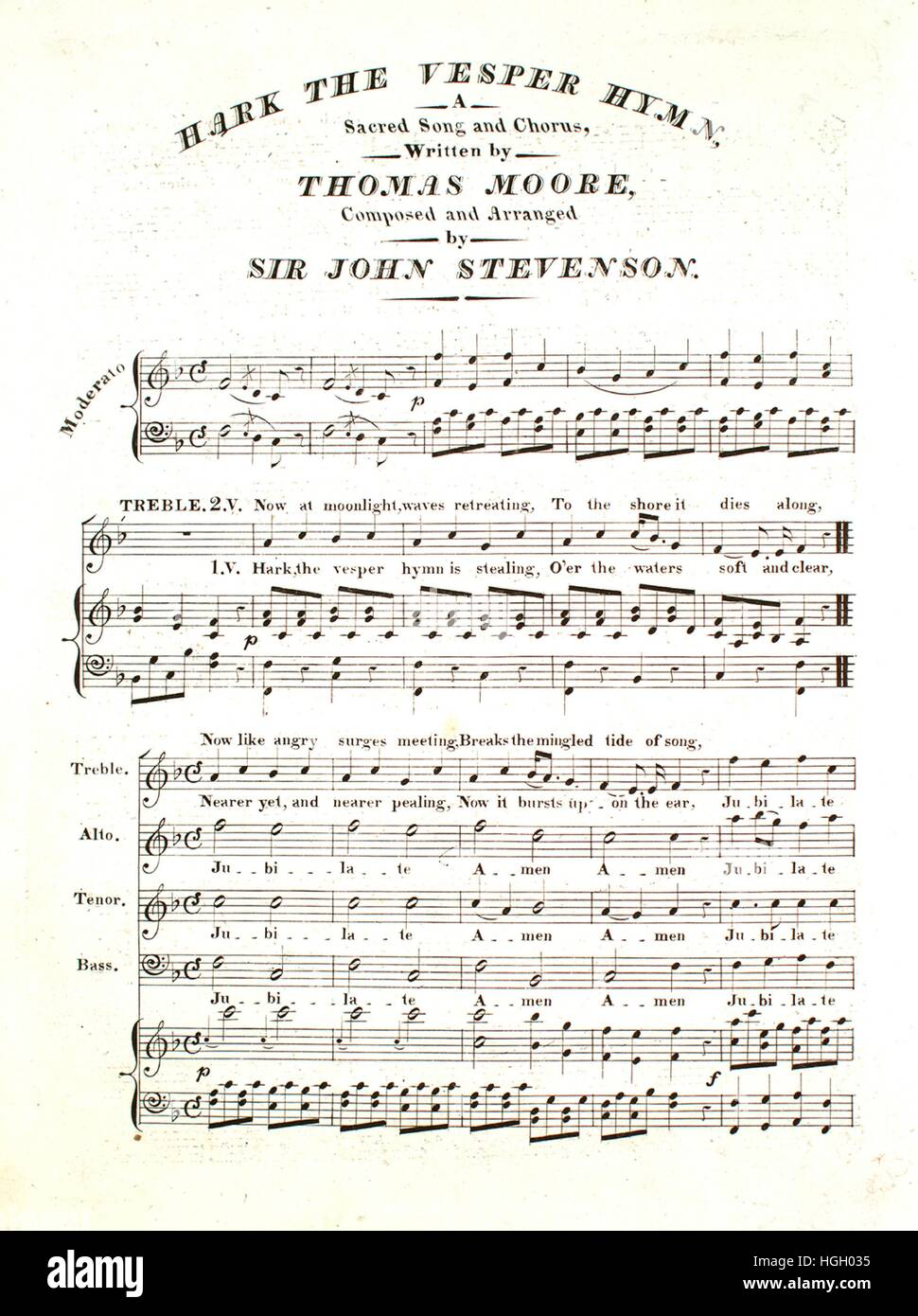 Sheet music cover image of the song 'Hark the Vesper Hymn A Sacred Song and Chorus', with original authorship - Stock Image