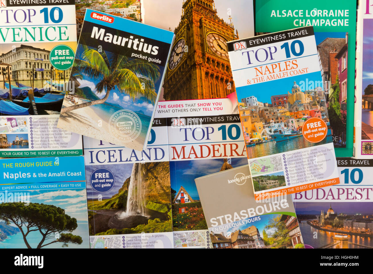 Travel books showing the theme of travel - Stock Image