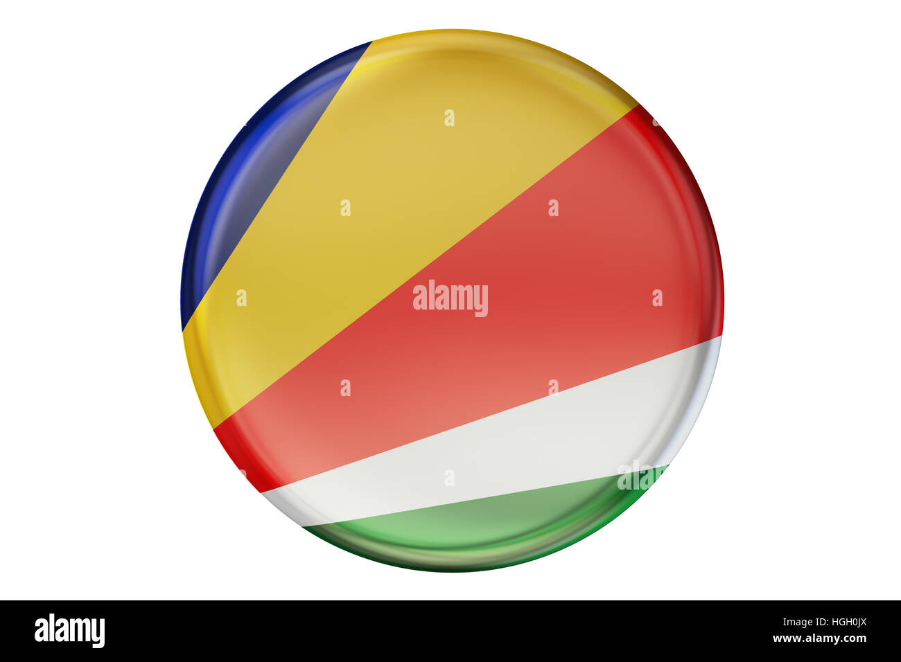 Badge with flag of Seychelles, 3D rendering  isolated on white background - Stock Image