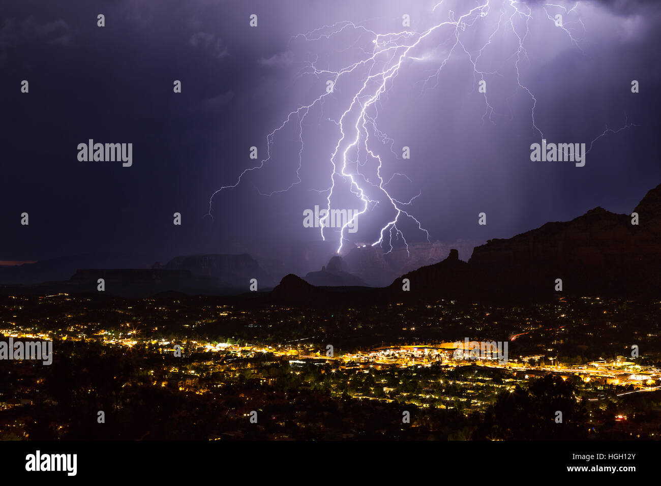 Lightning bolt strikes in a storm over Sedona, Arizona - Stock Image