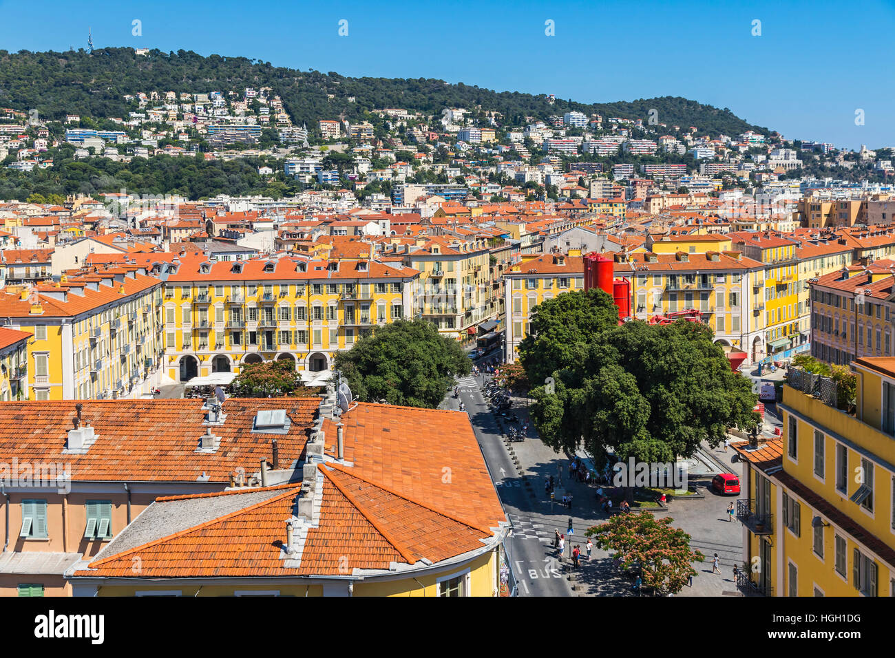 Aerial view of colorful historical houses in City of Nice. Nice - luxury resort of French Riviera, France Stock Photo