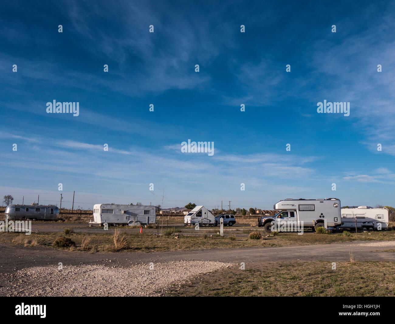 Tumble In RV Park, Marfa, Texas. - Stock Image