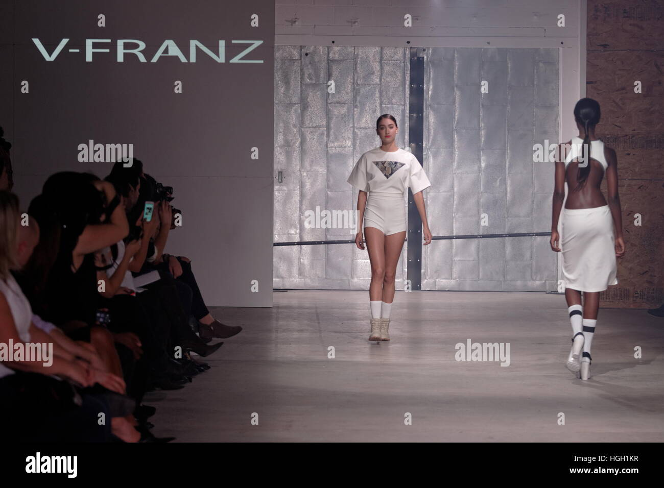 Models on the runway for the V-Franz Spring/Summer 2015 fashion show held at the Fullum studios in Montreal. - Stock Image