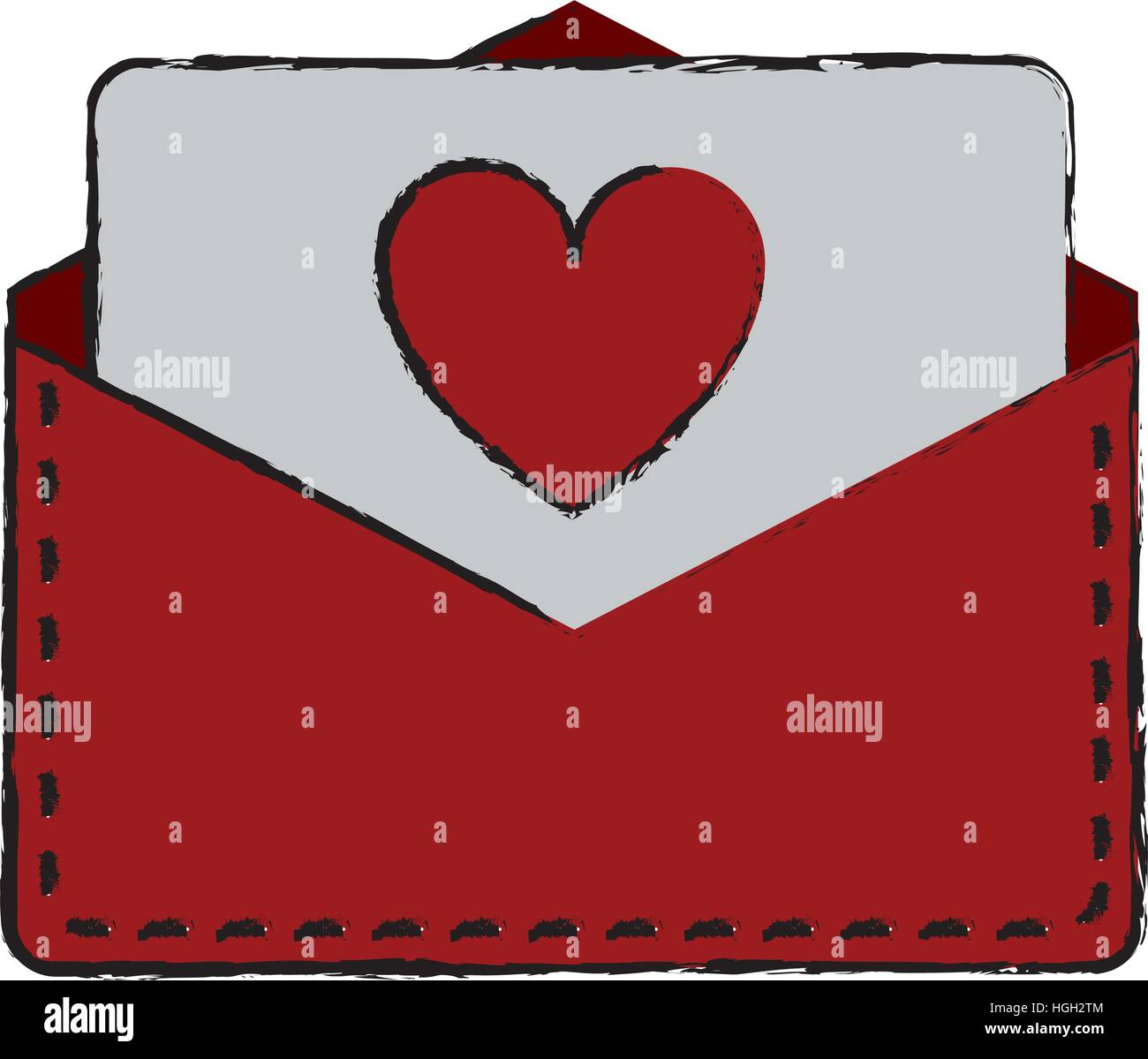 Drawing Love Heart Envelope Mail Valentine Letter Stock Vector Art