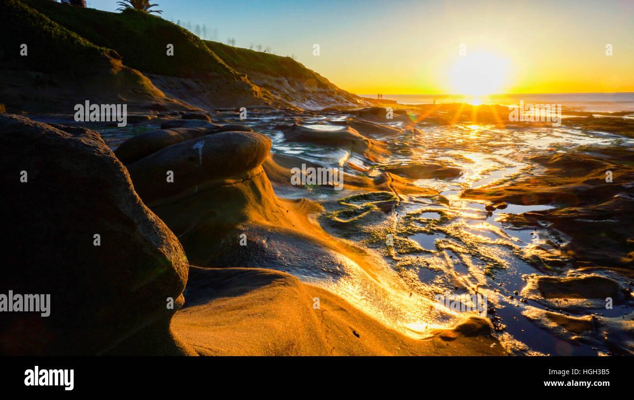 Sun set  at La Jolla, california Stock Photo