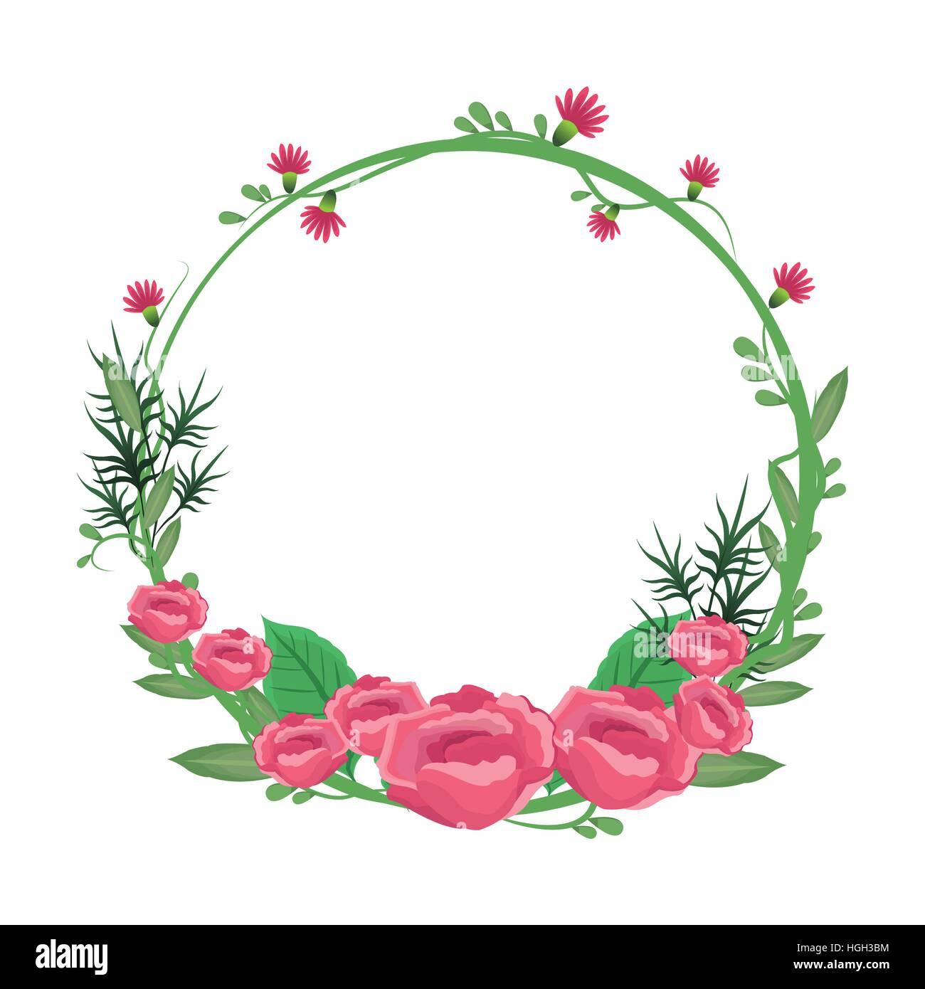 flower round frame wreath roses flowery stock vector art