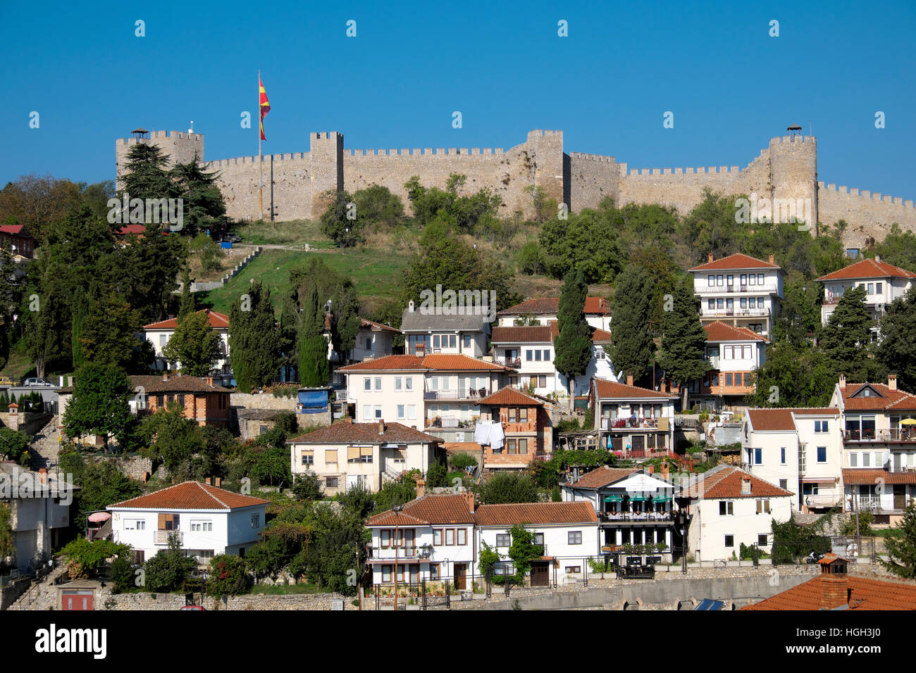 Fortress with the city of Ohrid, Macedonia - Stock Image