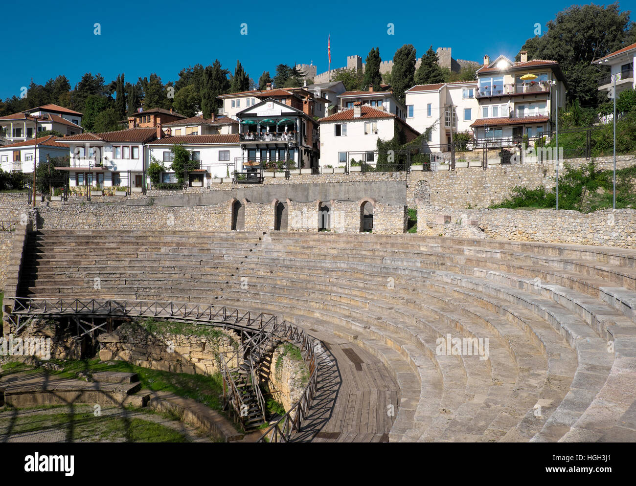 Ancient theater in the historic center, Ohrid, Macedonia - Stock Image
