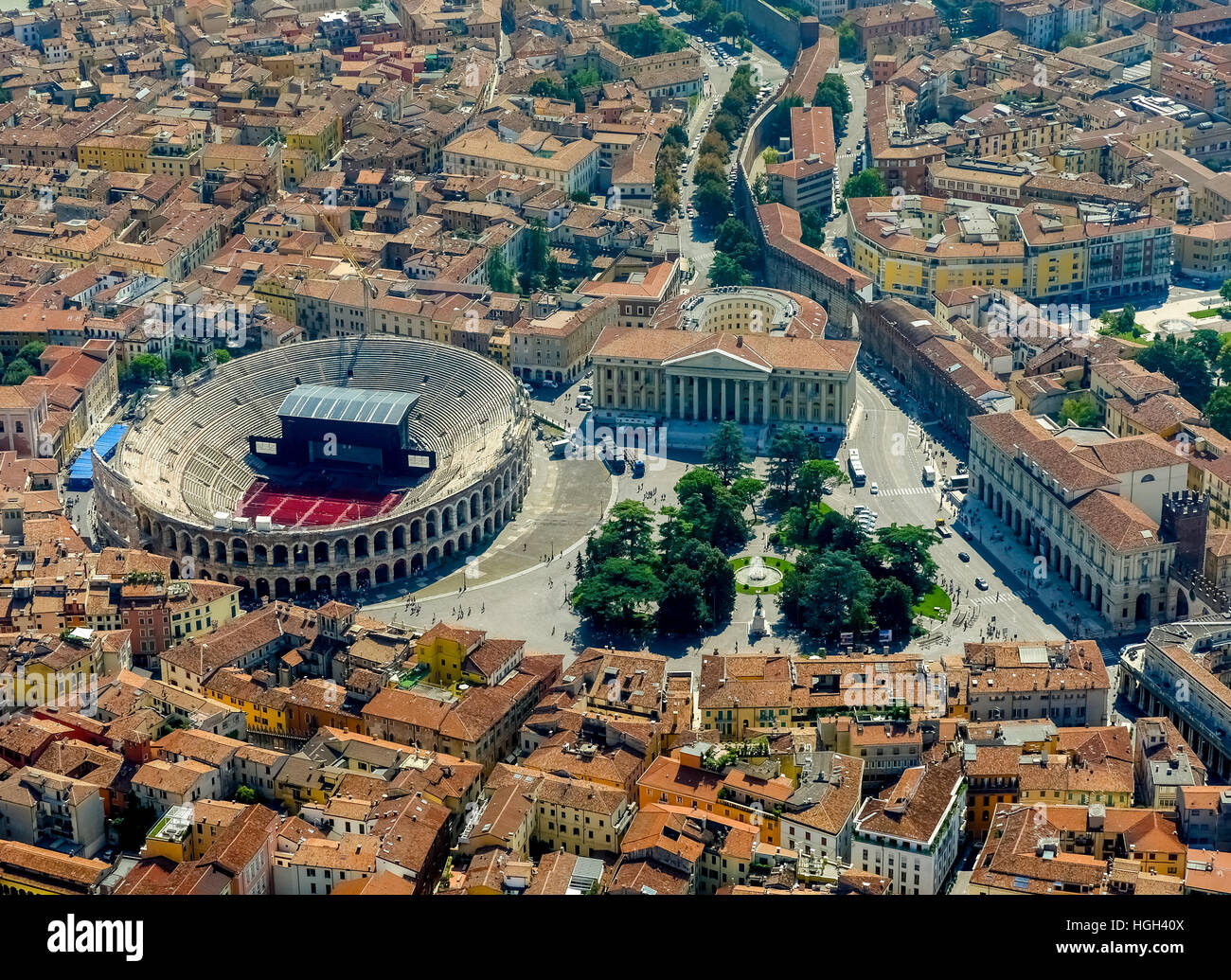 City centre with Palazzo Barbieri and Arena di Verona, Province of Verona, Veneto, Italy - Stock Image