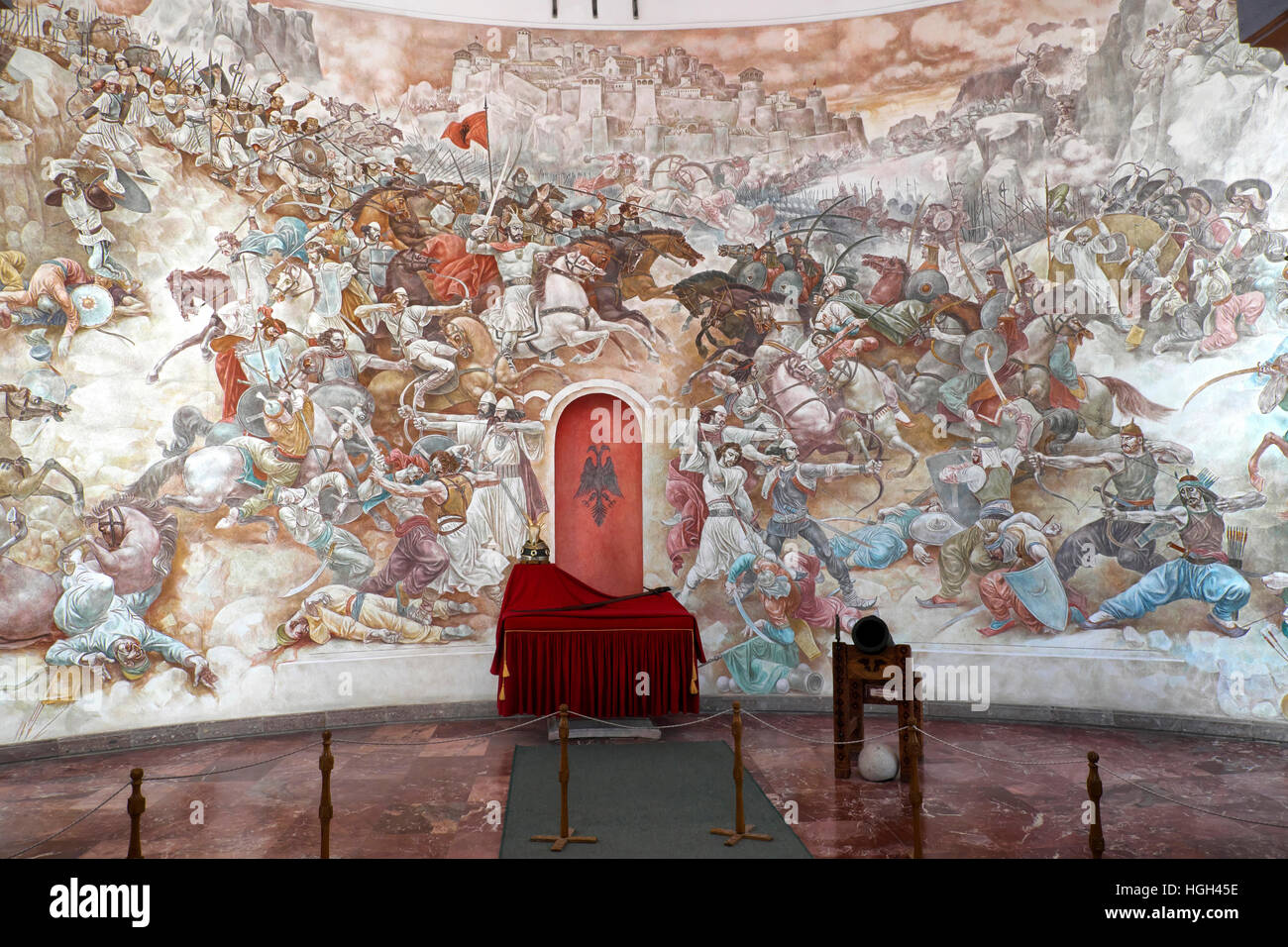 Painting of The Battle of Kosovo Polje, Skanderbeg Museum in Kruja Fortress, Durres, Albania - Stock Image