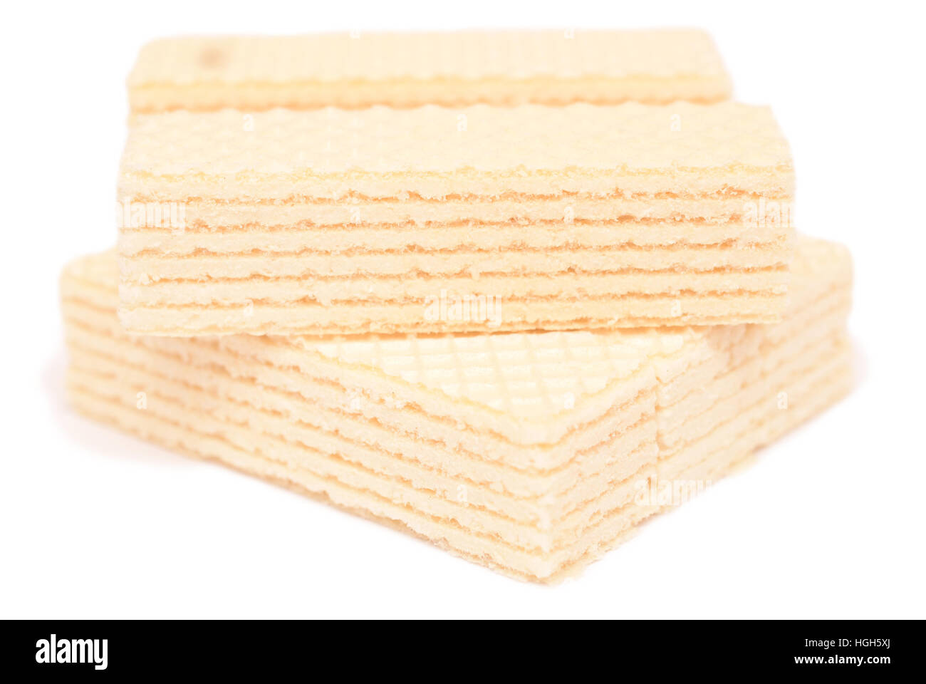 Wafer biscuit isolated on white background - Stock Image