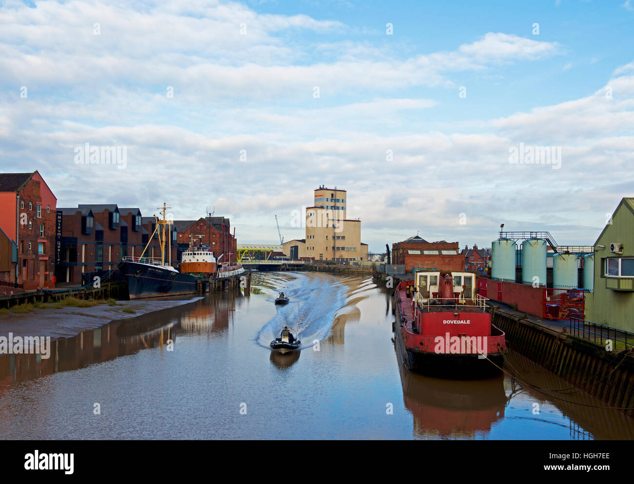 Rib inflatable dinghies on the River Hull, Kingston upon Hull, East Riding of Yorkshire, Humberside, England UK - Stock Image