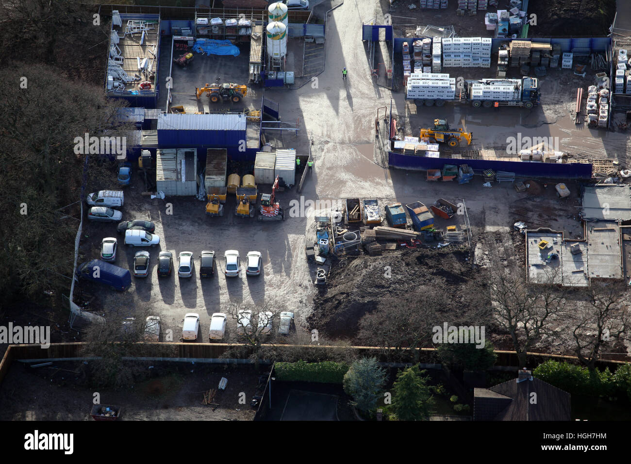 aerial view of a builders yard on a construction building site, UK - Stock Image
