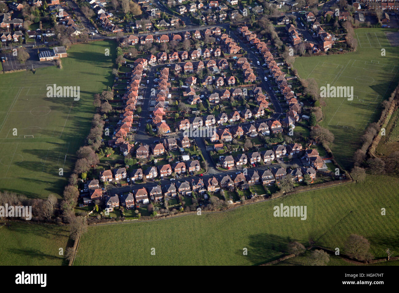 aerial view of Drayton Drive at Heald Green, Cheadle, Cheshire, UK - Stock Image