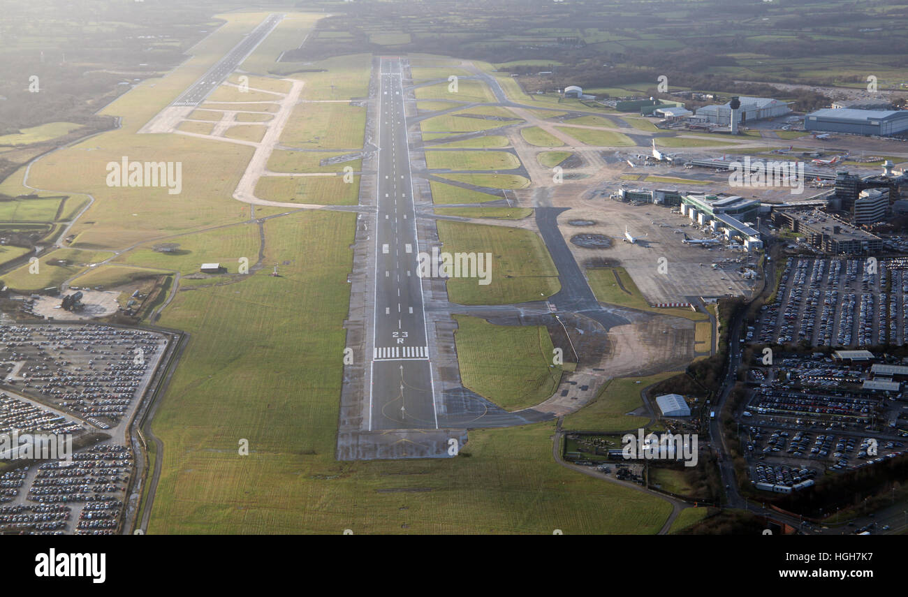aerial view of the main runway at Manchester Airport, UK - Stock Image
