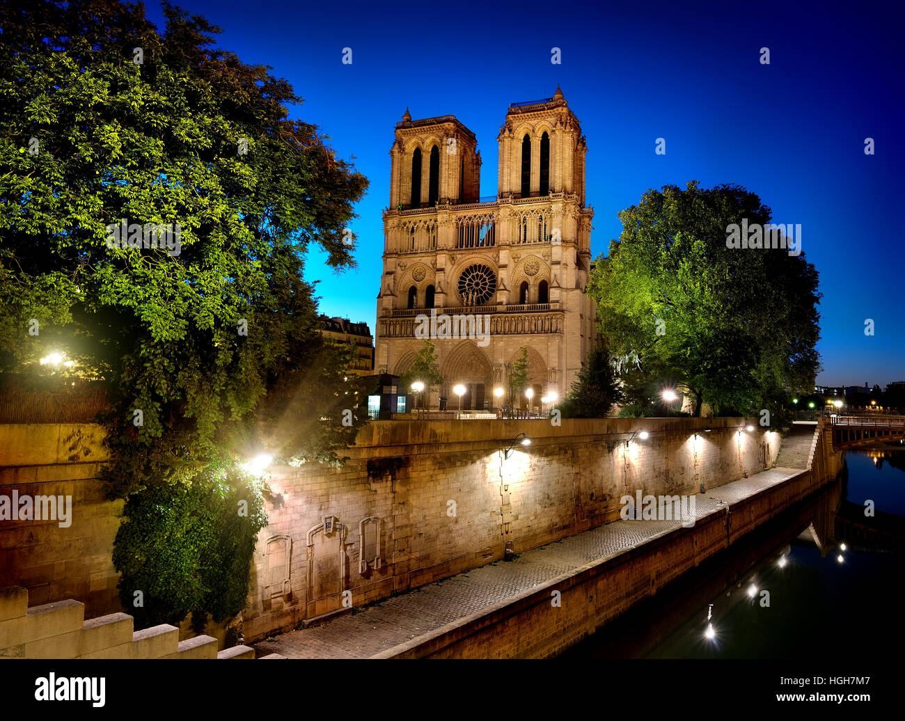 Seine and Notre Dame de Paris, Paris, France - Stock Image