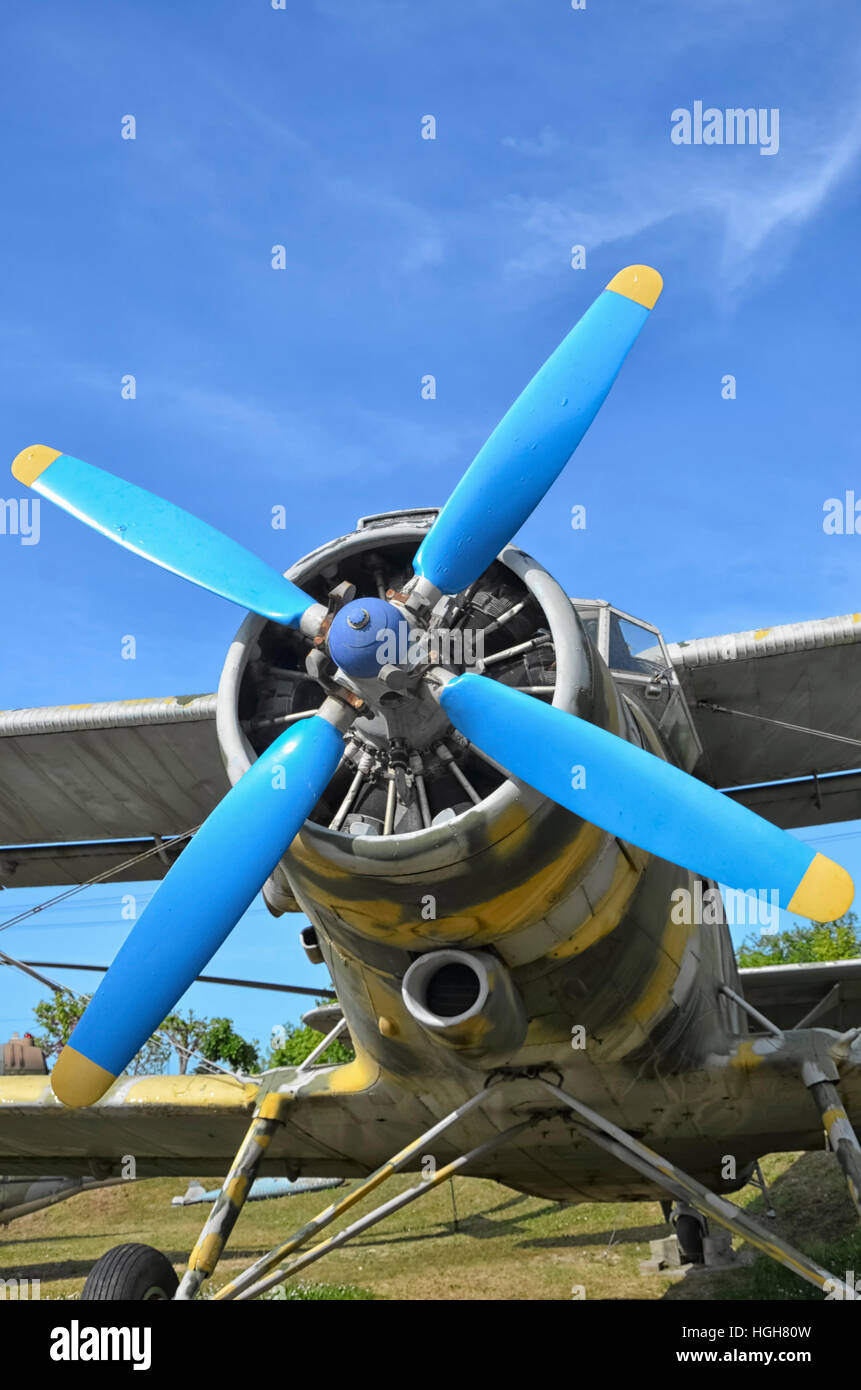 The aircraft propeller of a Antonov An-2 - Stock Image