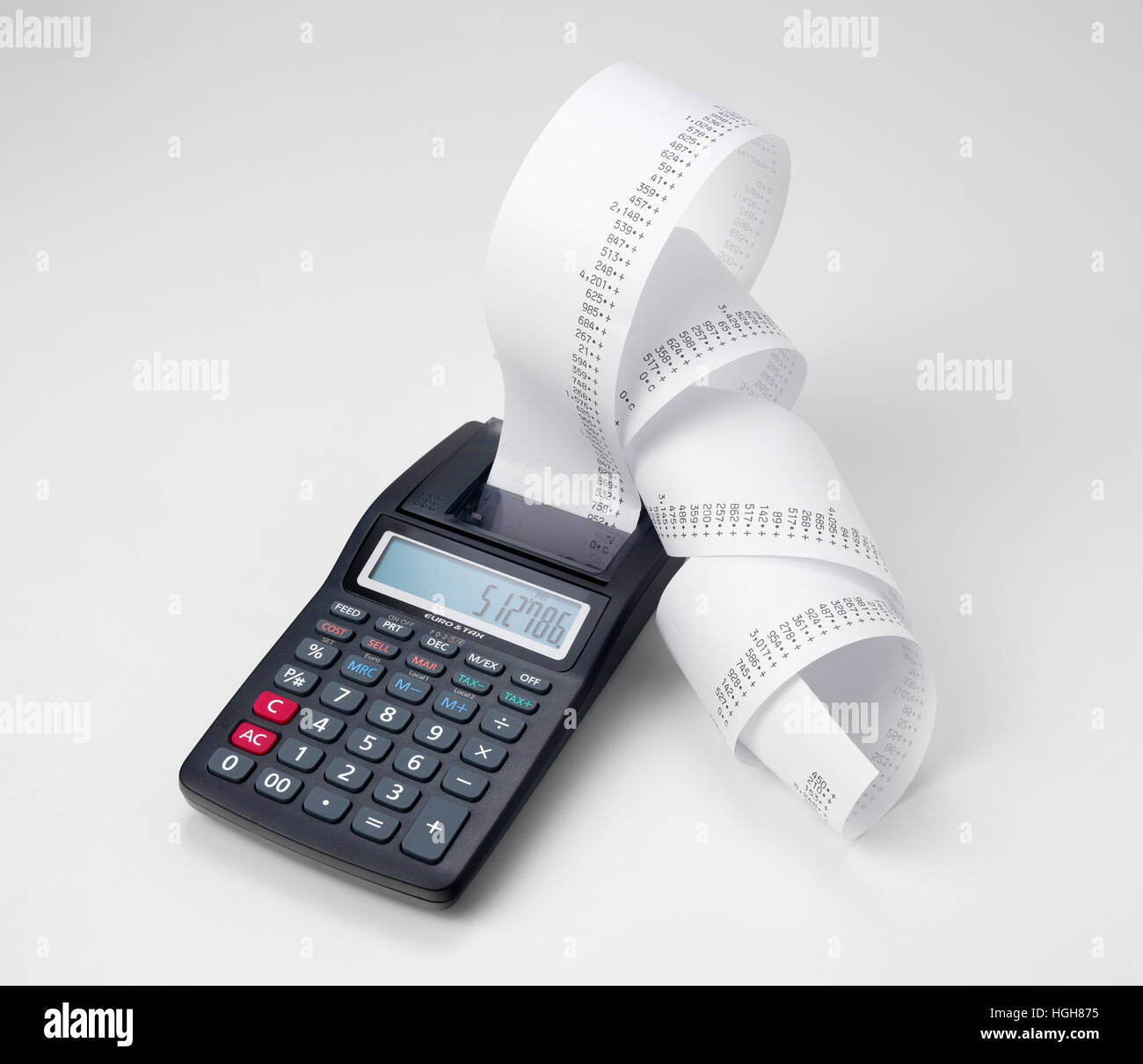 Roll Of Adding Machine Tape Stock Photos & Roll Of Adding