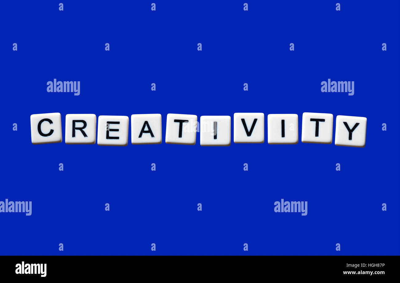 Creativity highlighted on white blocks - Stock Image