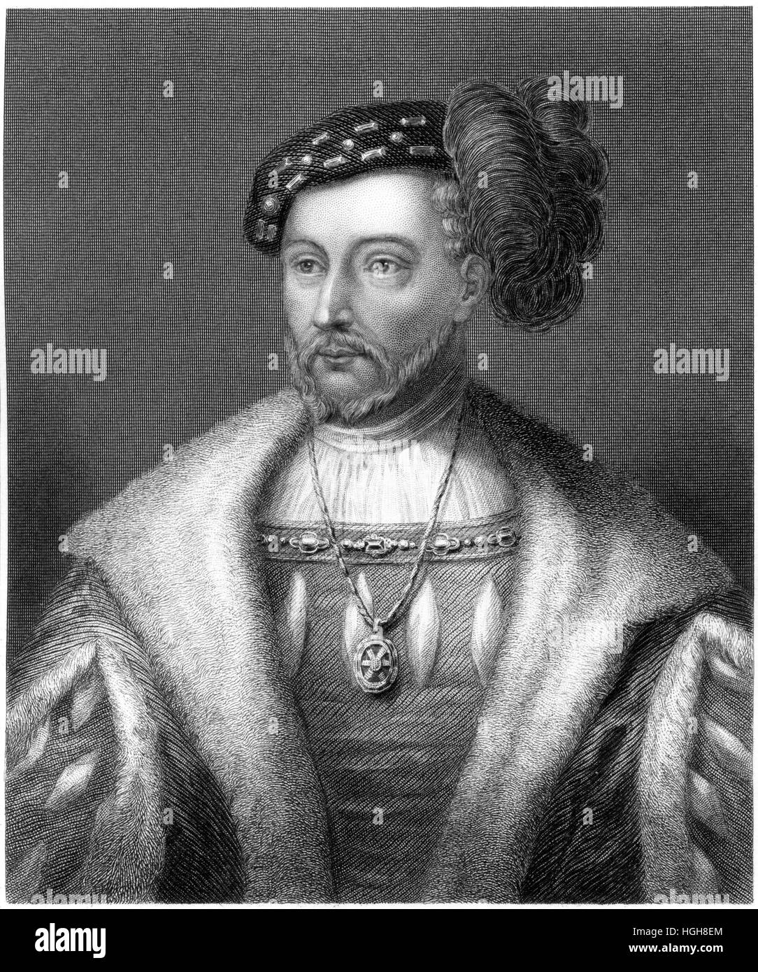 An engraving of James V of Scotland (from a Painting in the Duke of Devonshire's Possession) scanned at high resolution Stock Photo