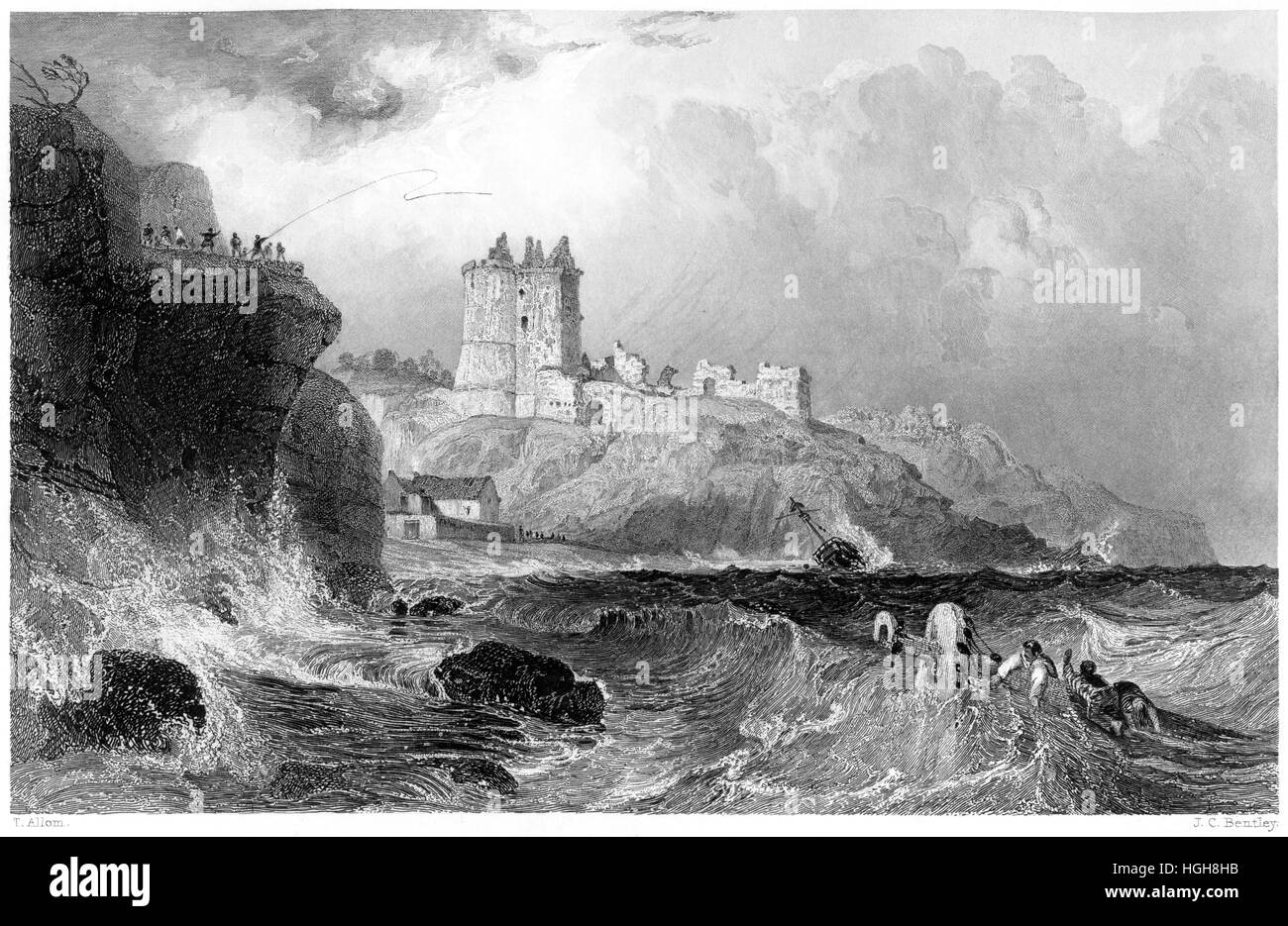 An engraving of Ravenscraig Castle near Kirkcaldy, Fifeshire scanned at high resolution from a book printed in 1859. - Stock Image