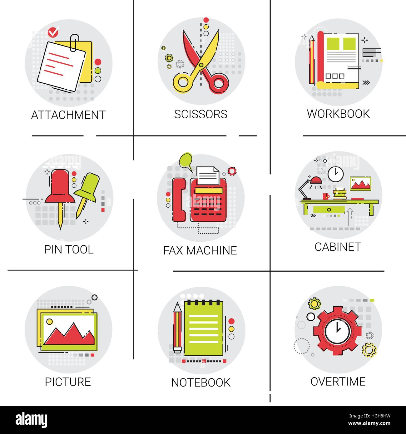 Cabinet Workplace Desk Workspace Office Equipment Icon Set - Stock Vector