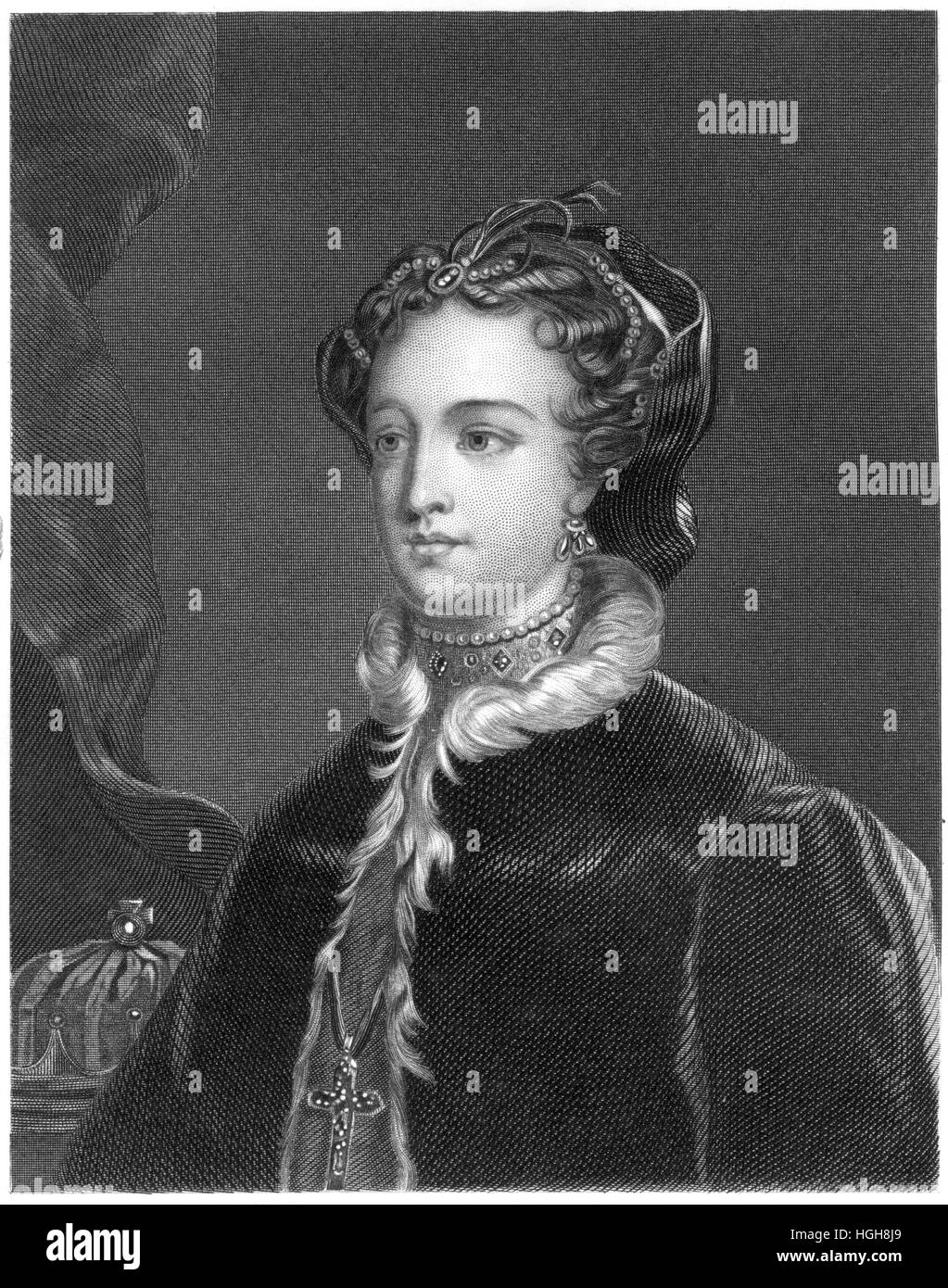An engraving of Mary Stuart scanned at high resolution from a book printed in 1859. Believed copyright free. Stock Photo