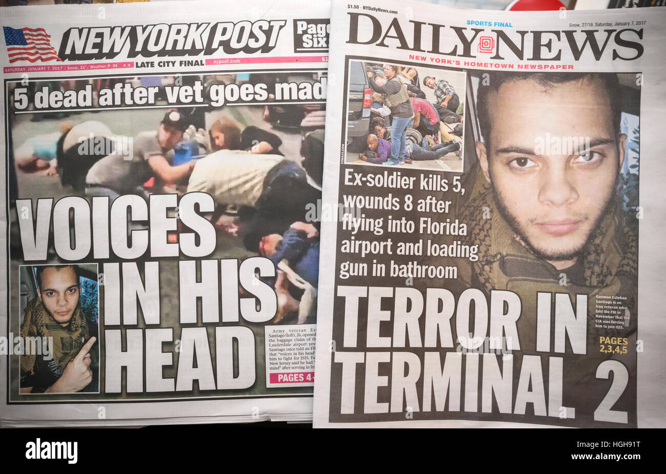 New York tabloid newspapers on Saturday, January 7, 2017 report on the previous days shooting by Esteban Santiago Stock Photo
