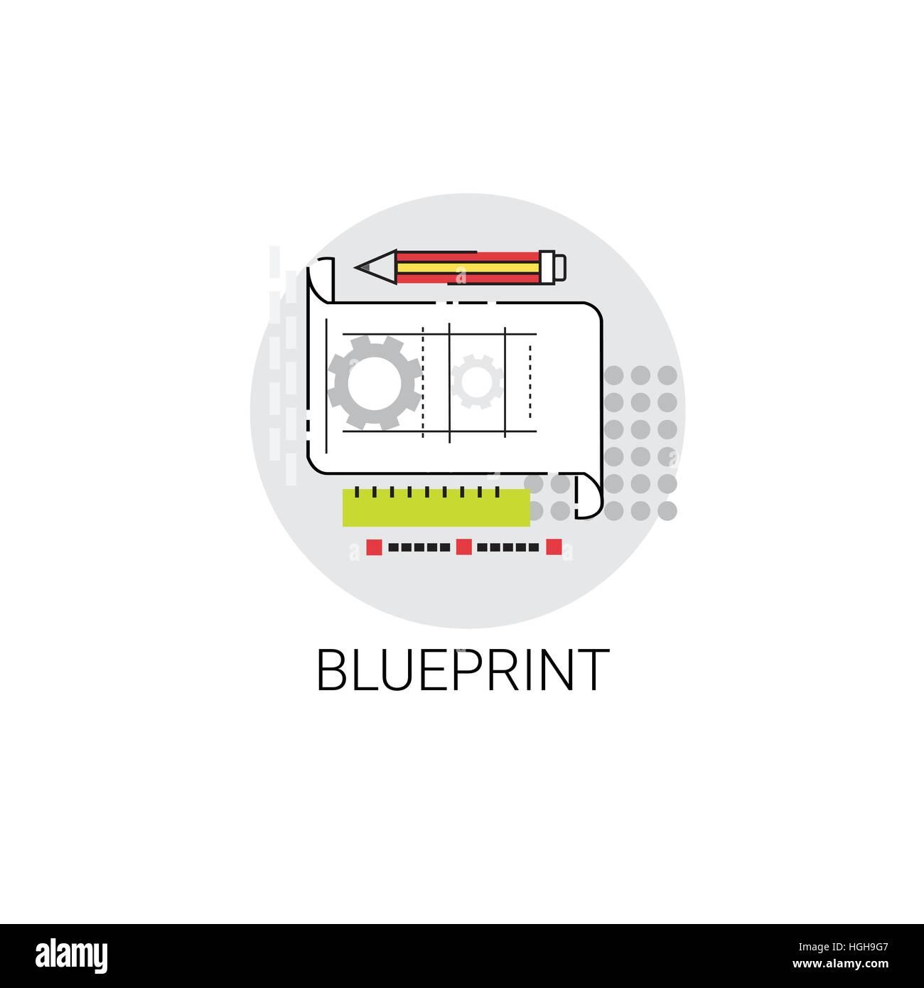 Blueprint building project construction engineering icon stock blueprint building project construction engineering icon malvernweather Gallery
