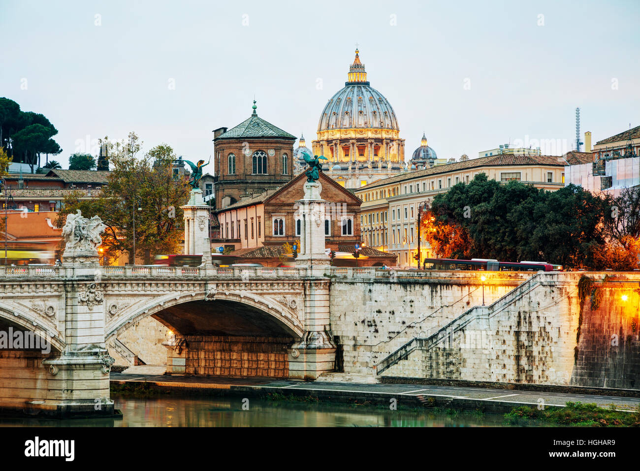 The Papal Basilica of St. Peter in the Vatican city at night - Stock Image