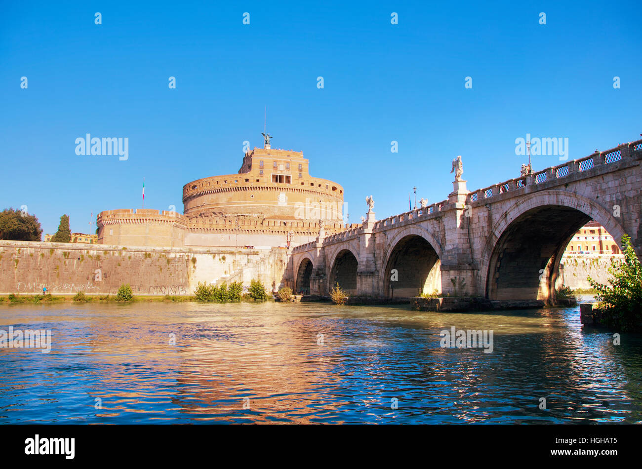 The Mausoleum of Hadrian (Castel Sant'Angelo) in Rome, Italy - Stock Image