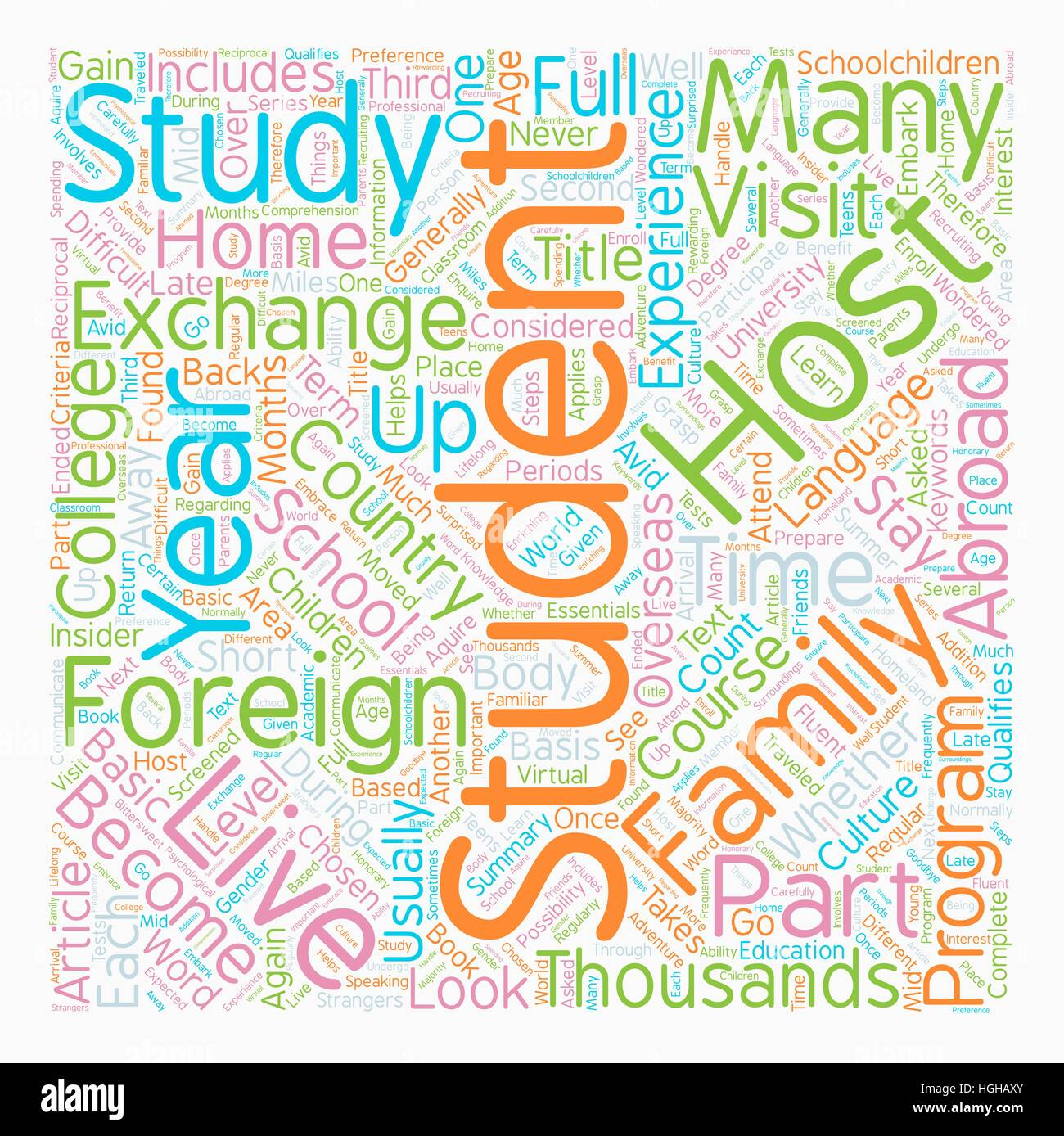 You Too Can Be A Foreign Exchange Student text background wordcloud concept - Stock Vector