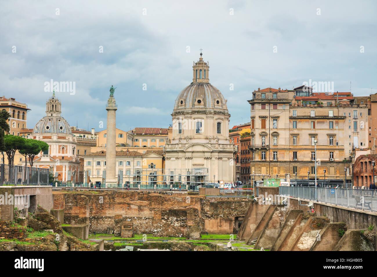 ROME - NOVEMBER 07: Santa Maria di Loreto church and Colonna Traiana with people on November 7, 2016 in Rome, Italy. Stock Photo