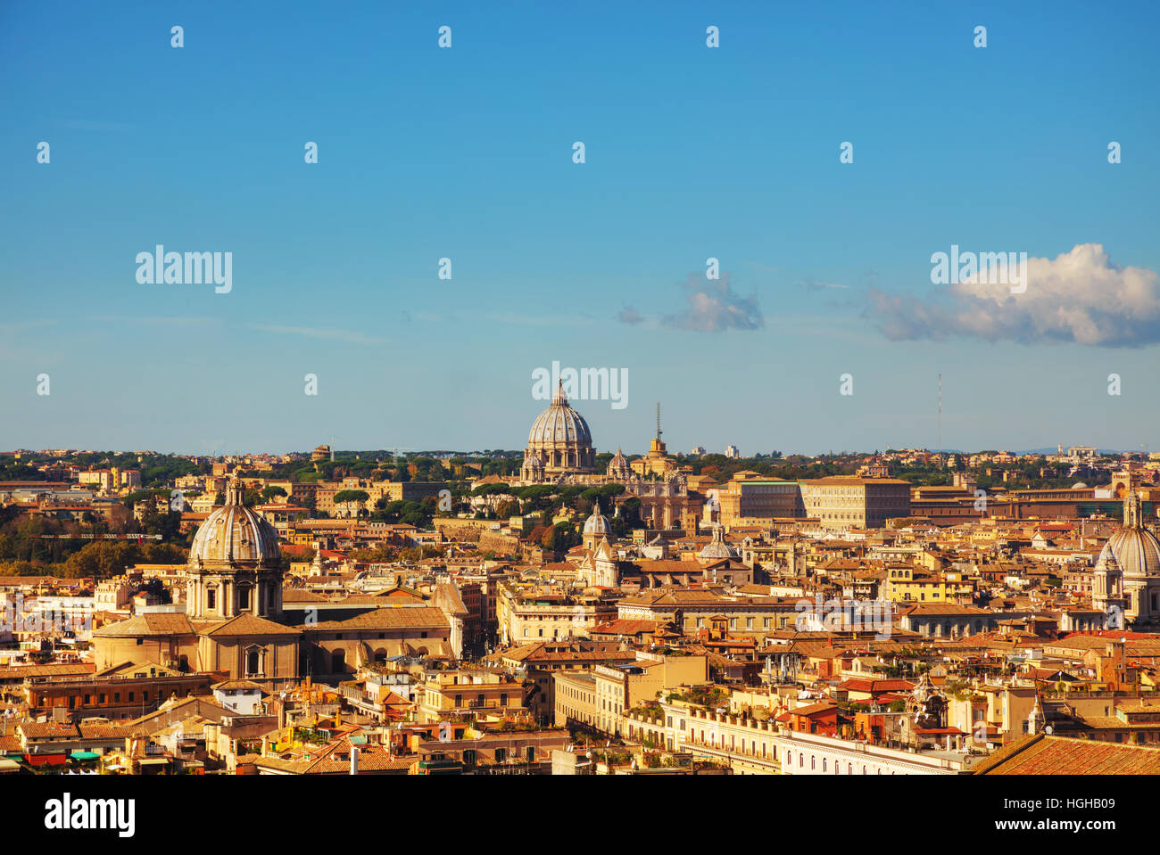 Rome aerial view with the Papal Basilica of St. Peter in the Vatican city - Stock Image