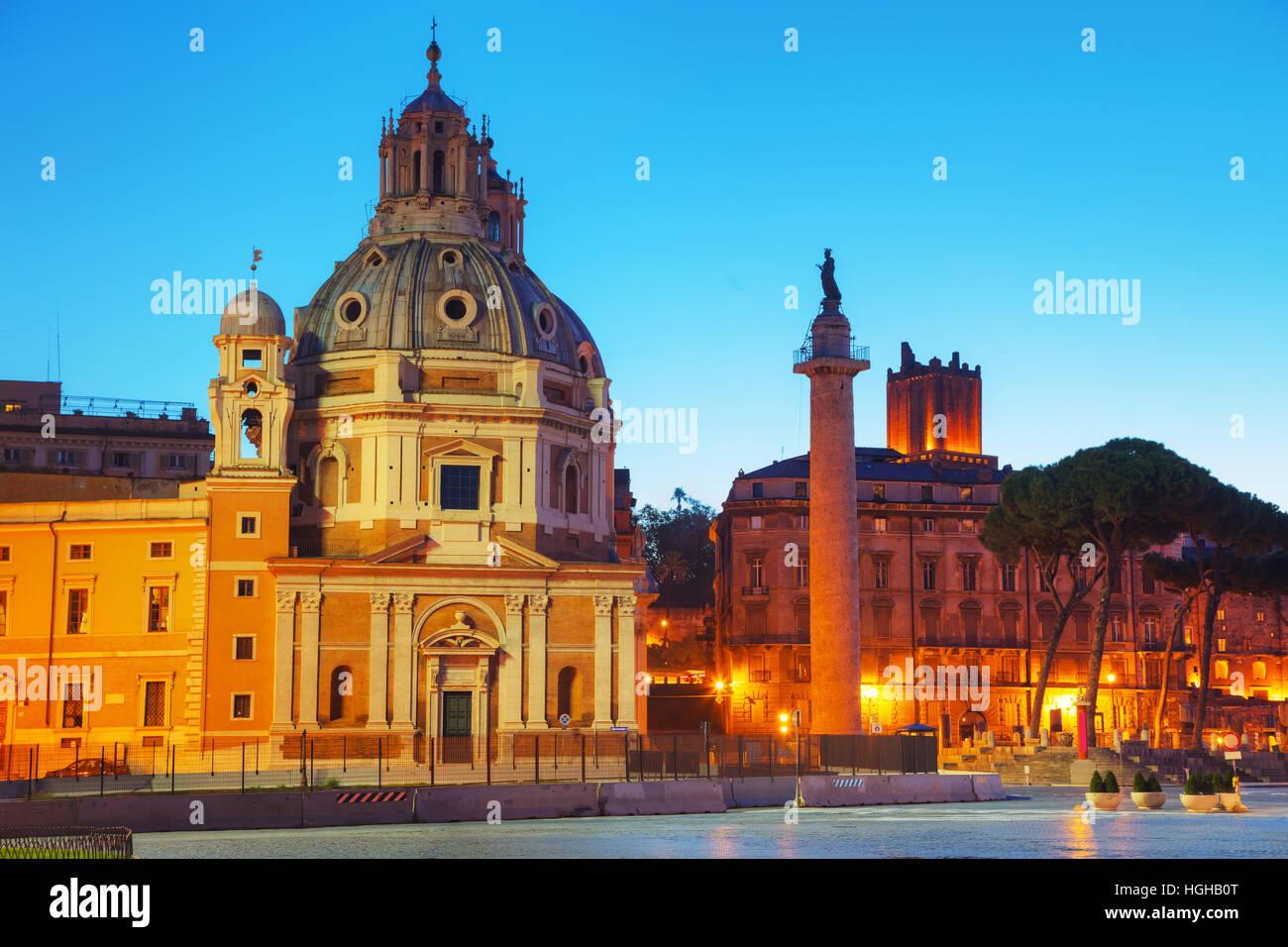 Santa Maria di Loreto church and Colonna Traiana in Rome, Italy Stock Photo