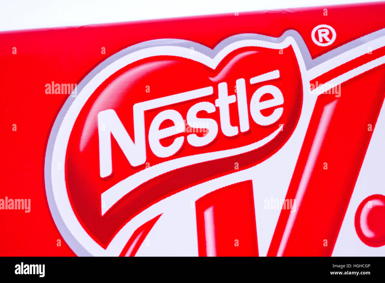 LONDON, UK - JANUARY 4TH 2017: A close-up of the Nestle logo on one of their confectionery products. - Stock Image