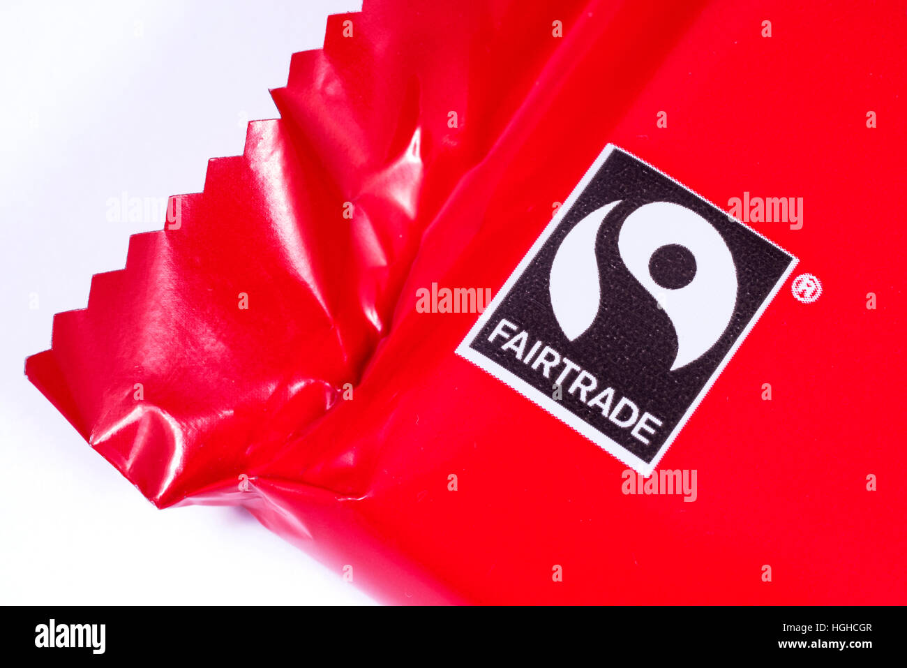 LONDON, UK - JANUARY 4TH 2017: A close-up shot of the Fairtrade logo on a food product, on 4th January 2017. - Stock Image