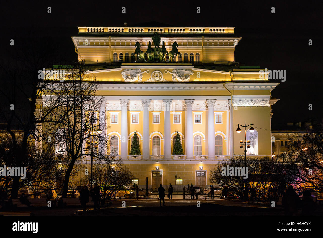 The Alexandrinsky Theatre or Russian State Pushkin Academy Drama Theater at night, Saint Petersburg, Russia - Stock Image
