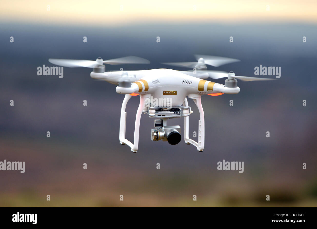 Drone in flight - DJI Phantom 3 - Stock Image