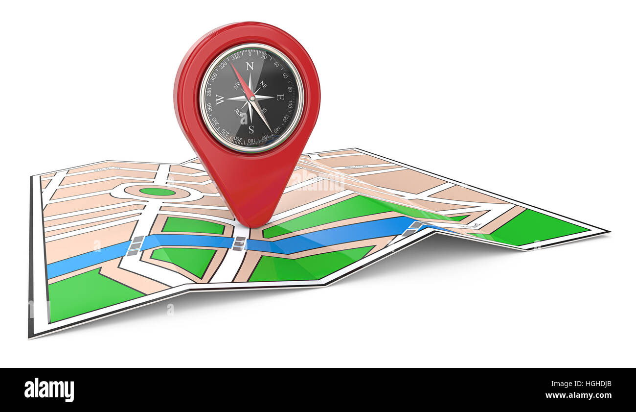 3D render of a Map with Red GPS Pointer and Compass. - Stock Image