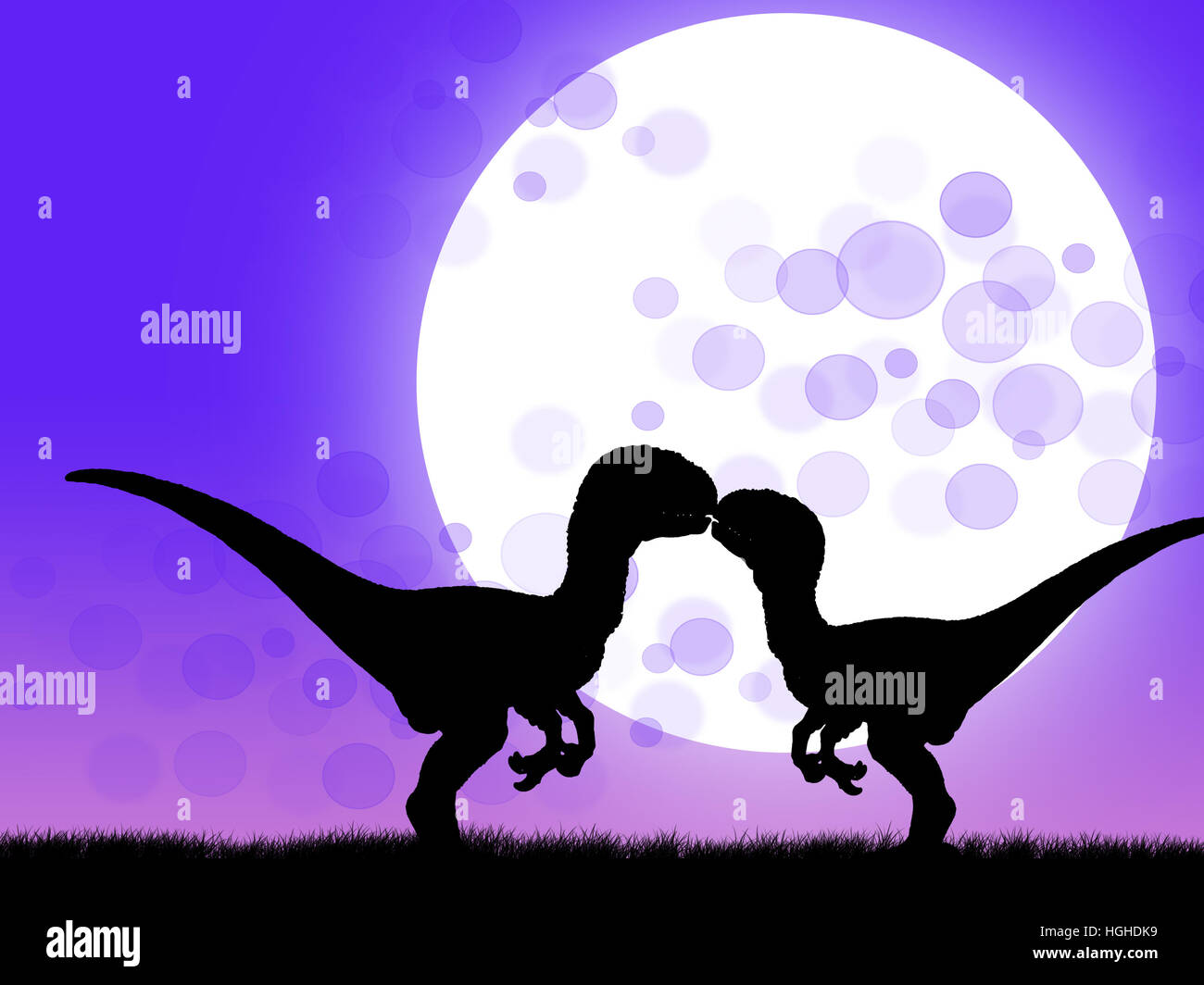 Couple of velociraptor kissing at moonlight - Stock Image