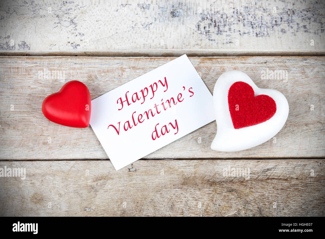 Valentine Greeting Card On Wooden Table With Text Happy